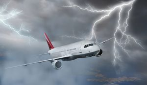 airplane and lightning strike