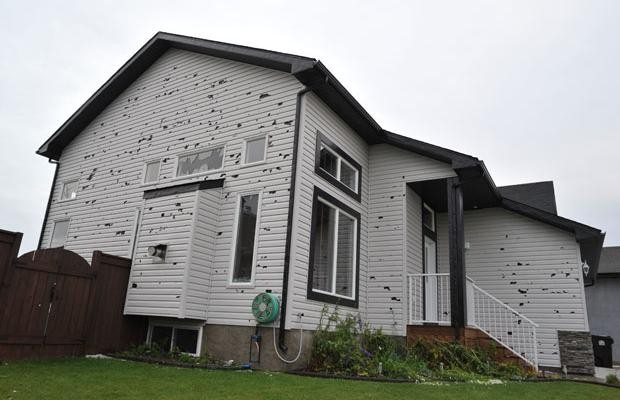 Hail damage to siding